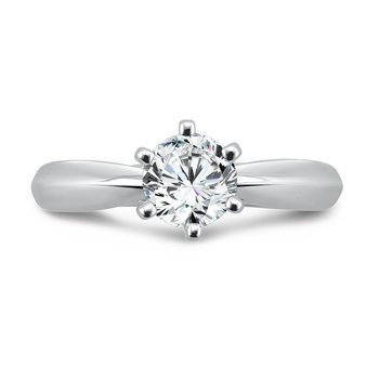 Six-Prong Diamond Solitaire Engagement Ring in 14K White Gold with Platinum Head (3/4 ct.)