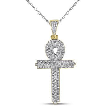 10kt Yellow Gold Mens Round Diamond Ankh Cross Religious Charm Pendant 3/8 Cttw