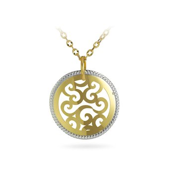 14K YW Laser Cut Round Filigree Design  Necklace