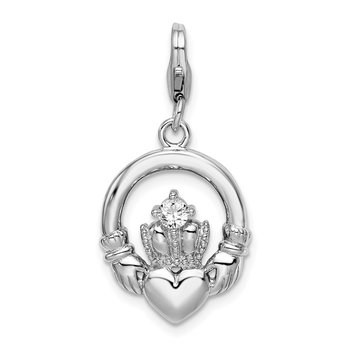 Sterling Silver Amore La Vita Rhodium-plated Clear CZ Claddagh Charm