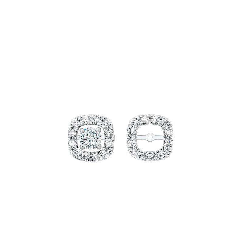 Gems One Micro Prong Diamond Halo Jacket Earrings in 14K White Gold (1/6 ct. tw.)