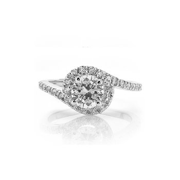 Round Halo Bypass Style Diamond Engagement Ring