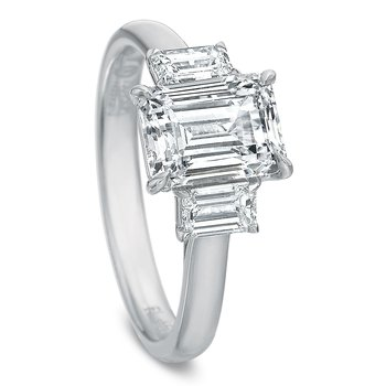 18K white gold 3 stone semi mount for 1.00 ct emerald cut center