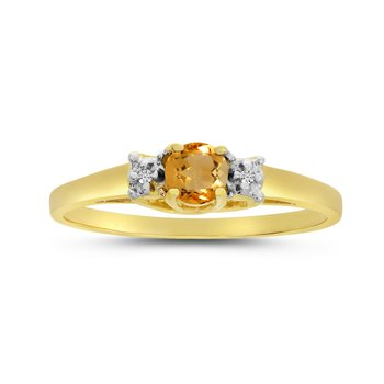 14k Yellow Gold Round Citrine And Diamond Ring