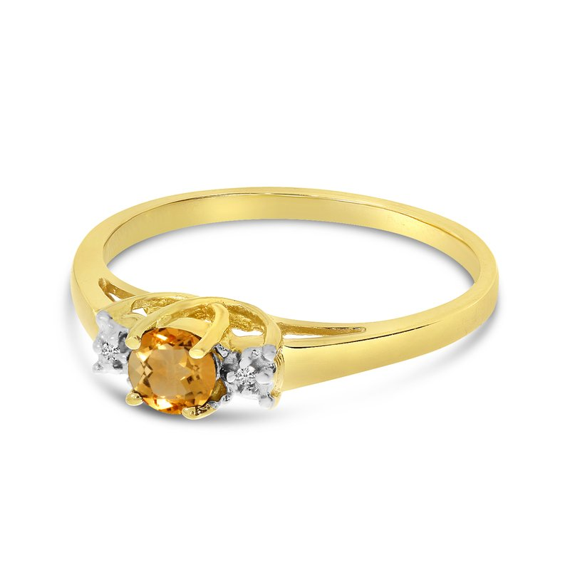 Color Merchants 14k Yellow Gold Round Citrine And Diamond Ring