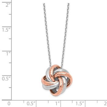 Leslie's Sterling Silver Rose Rhodium-plated Necklace