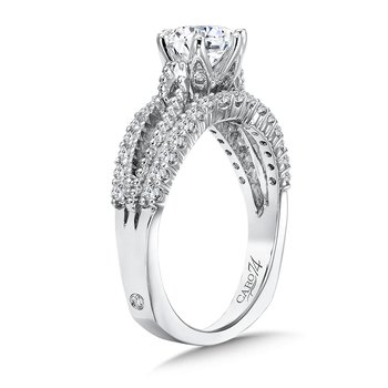 Six-Prong Engagement Ring With Side Stones in 14K White Gold with Platinum Head (1ct. tw.)