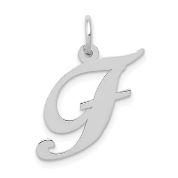 14K White Gold Medium Fancy Script Letter F Initial Charm