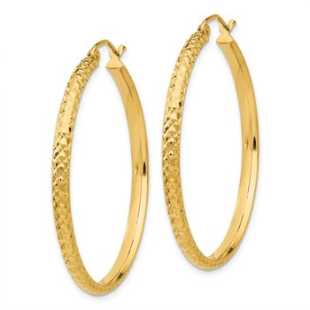 14K Diamond-cut 2.8x37mm Hollow Hoop Earrings