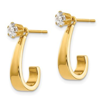 14k J Hoop with CZ Stud Earring Jackets