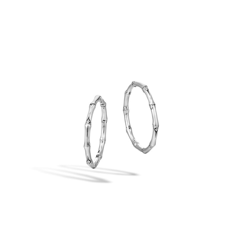 JOHN HARDY Bamboo Medium Hoop Earring in Silver