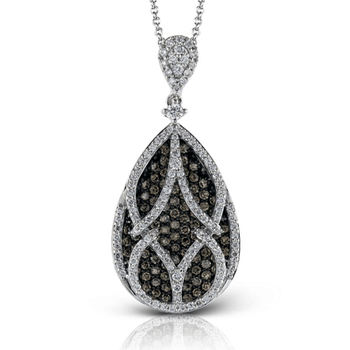 White and Brown Diamond Teardrop Necklace