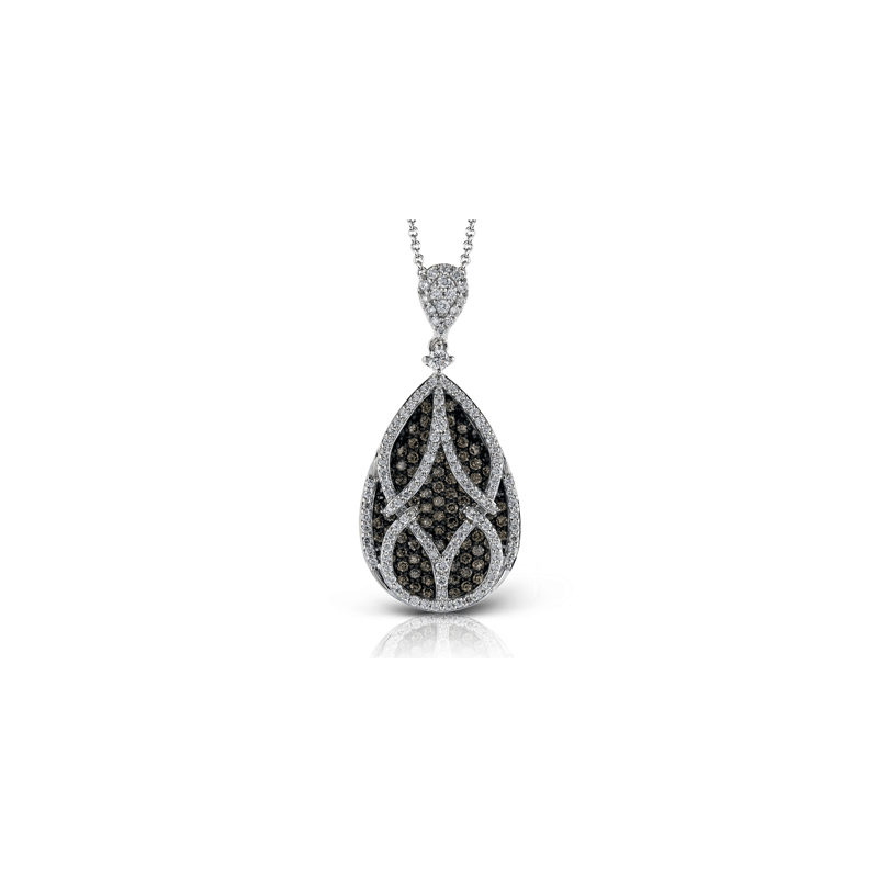Simon G White and Brown Diamond Teardrop Necklace