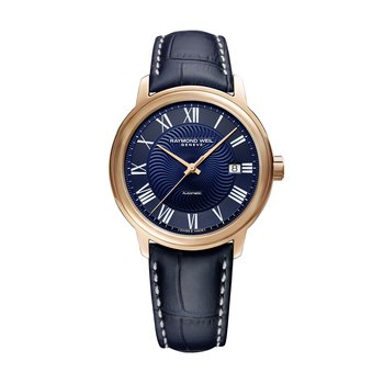 Men's Blue Automatic Date Watch, 40mm steel on leather strap, dark blue dial, rose tone PVD