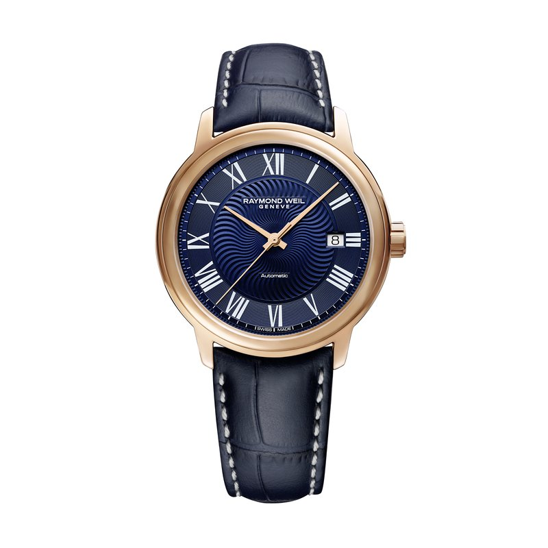 Raymond Weil Men's Blue Automatic Date Watch, 40mm steel on leather strap, dark blue dial, rose tone PVD