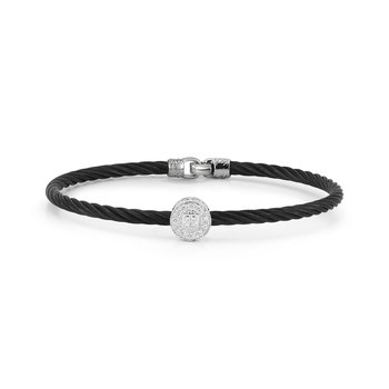 Black Cable Essential Stackable Bracelet with Single Large Round Diamond station set in 18kt White Gold