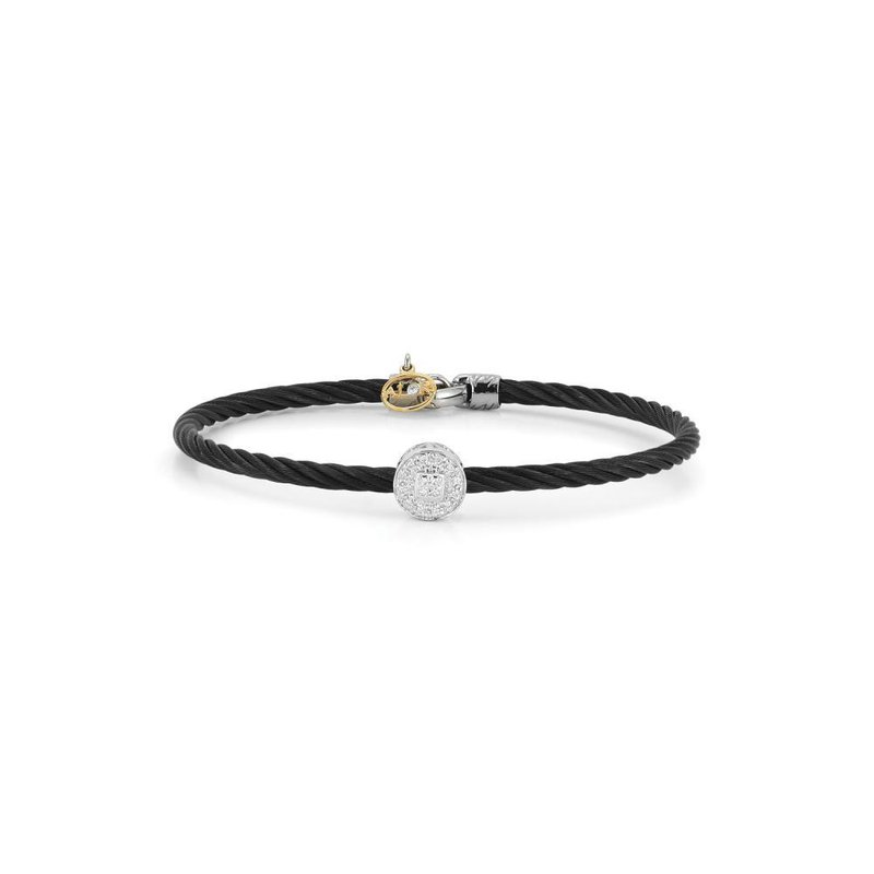 ALOR Black Cable Essential Stackable Bracelet with Single Large Round Diamond station set in 18kt White Gold