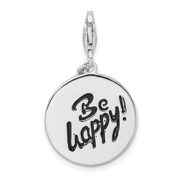SS Rhodium-plated Polished Be Happy! Lobster Clasp Charm