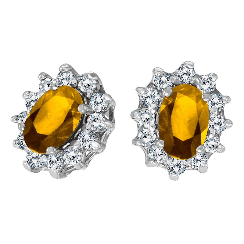 10k White Gold Oval Citrine and .25 total ct Diamond Earrings