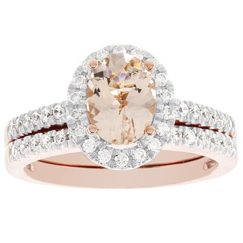 14K Rose Gold Oval Morganite and 1/2ct TDW Diamond Bridal Set