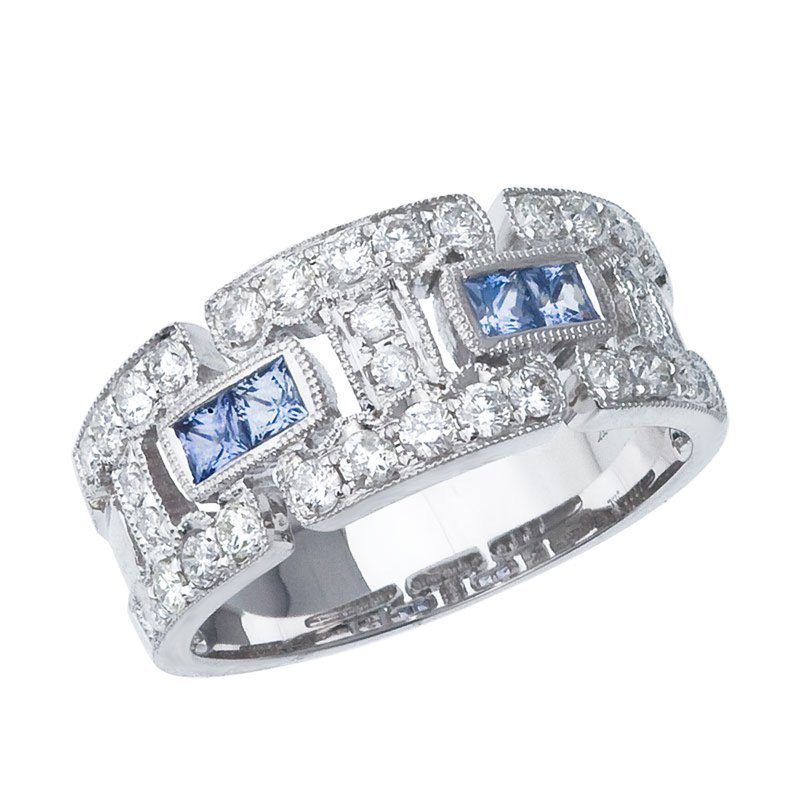 Color Merchants 14k White Gold Sapphire and Diamond Geometric Band