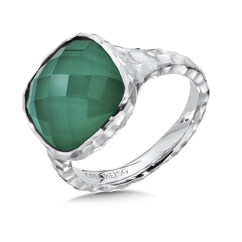 Colore Sg Hammered sterling silve, green agate and white quartz fusion ring