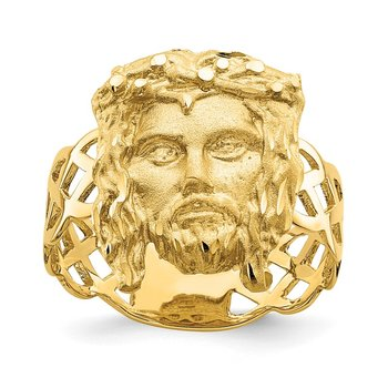 14K Brushed & Polished D/C Jesus Head Ring