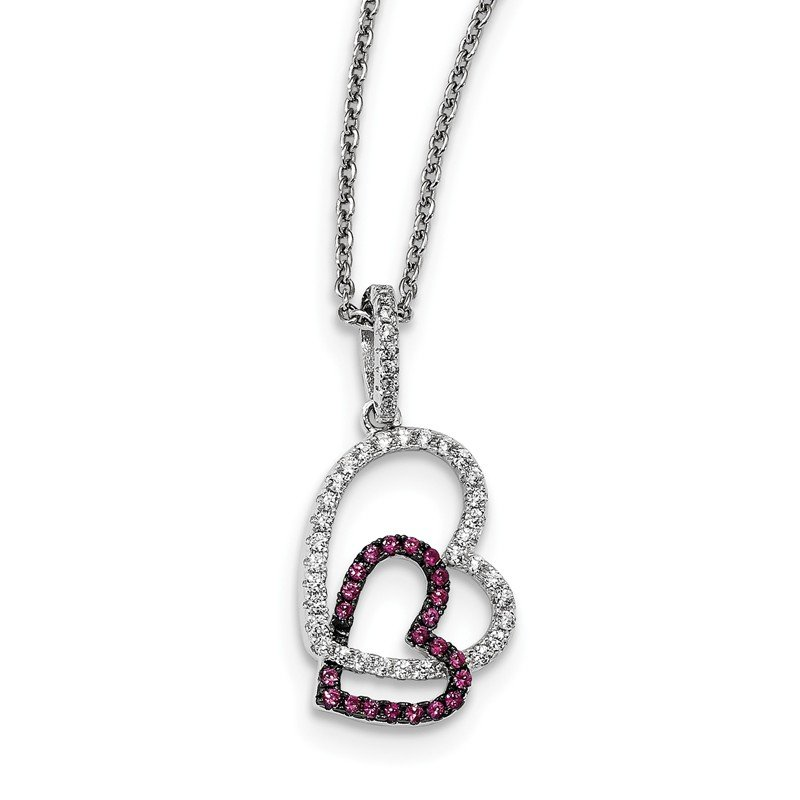 Quality Gold Sterling Silver & CZ Brilliant Embers Hearts Necklace