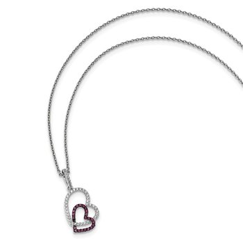 Sterling Silver & CZ Brilliant Embers Hearts Necklace