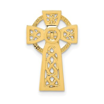 14k Polished Celtic Cross Slide