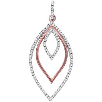 10kt Rose Gold Womens Round Diamond Triple Nested Oval Pendant 1/3 Cttw