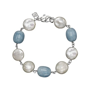 Honora Sterling Silver 12-14mm White Freshwater Cultured Pearl with Aquamarine Bracelet