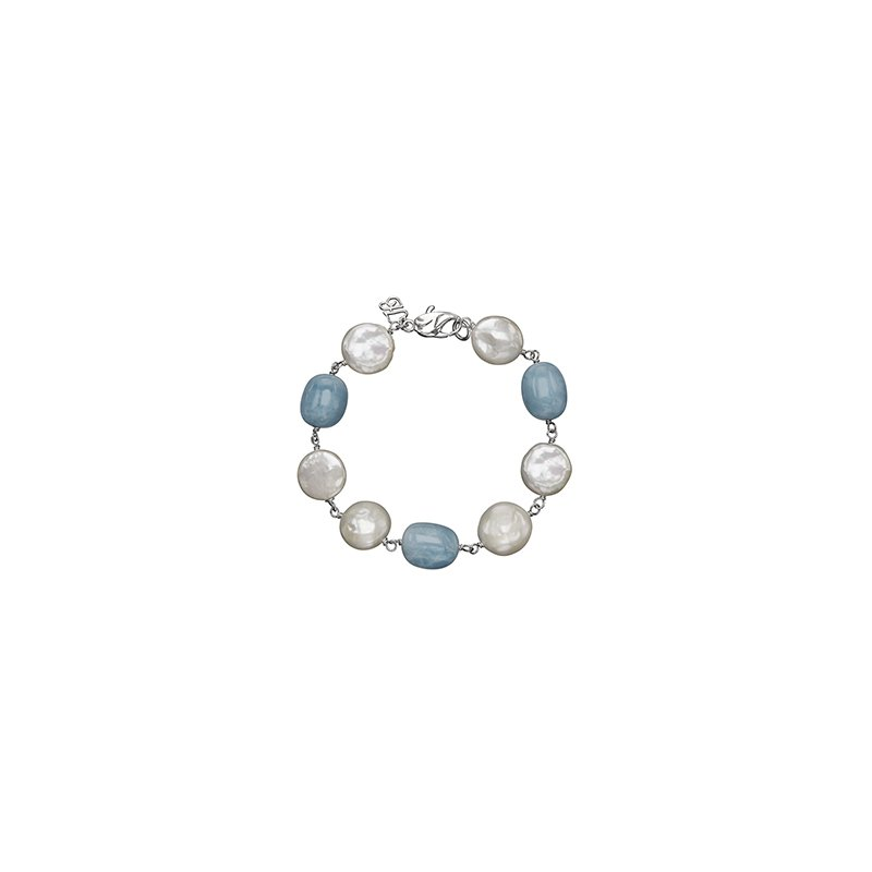 Honora Honora Sterling Silver 12-14mm White Freshwater Cultured Pearl with Aquamarine Bracelet
