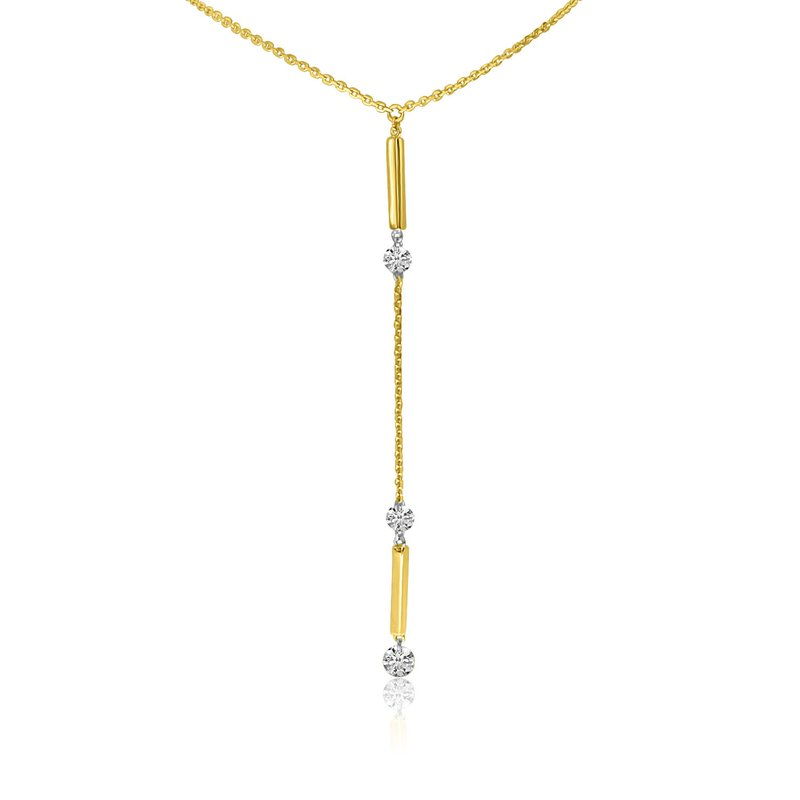 "Color Merchants 14K Yellow Gold Lariat Y Diamond Necklace with 18"" Chain"