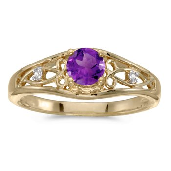 10k Yellow Gold Round Amethyst And Diamond Ring