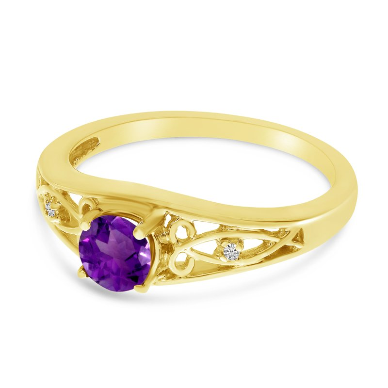 Color Merchants 10k Yellow Gold Round Amethyst And Diamond Ring