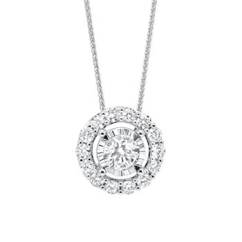 Diamond Halo Solitaire Starburst Pendant Necklace in 14k White Gold (1/7ctw)