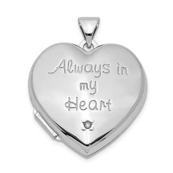 Sterling Silver Rhodium-plated Heart with Diamond Locket