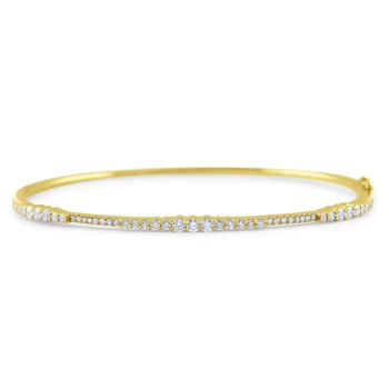 14k Gold and Diamond Hinged Bangle Bracelet
