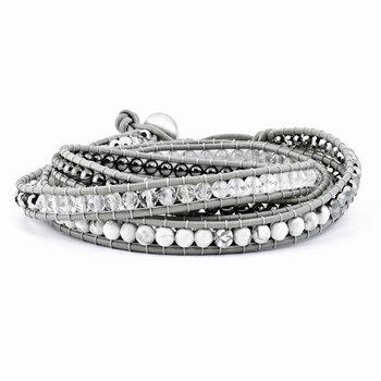Crystal/Hematite/White Howlite Bead Leather Multi-wrap Bracelet