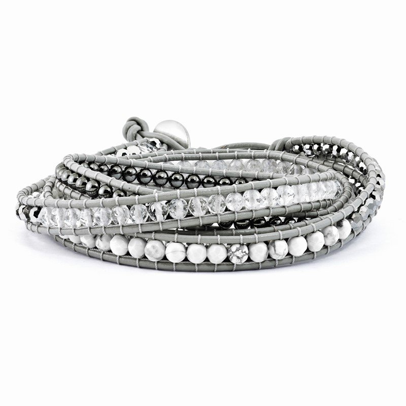 Quality Gold Crystal/Hematite/White Howlite Bead Leather Multi-wrap Bracelet