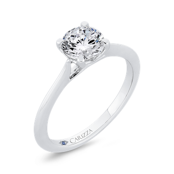 18K White Gold Solitaire Engagement Ring (Semi-Mount)