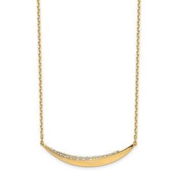 14K Curved Bar CZ with 2IN EXT Necklace