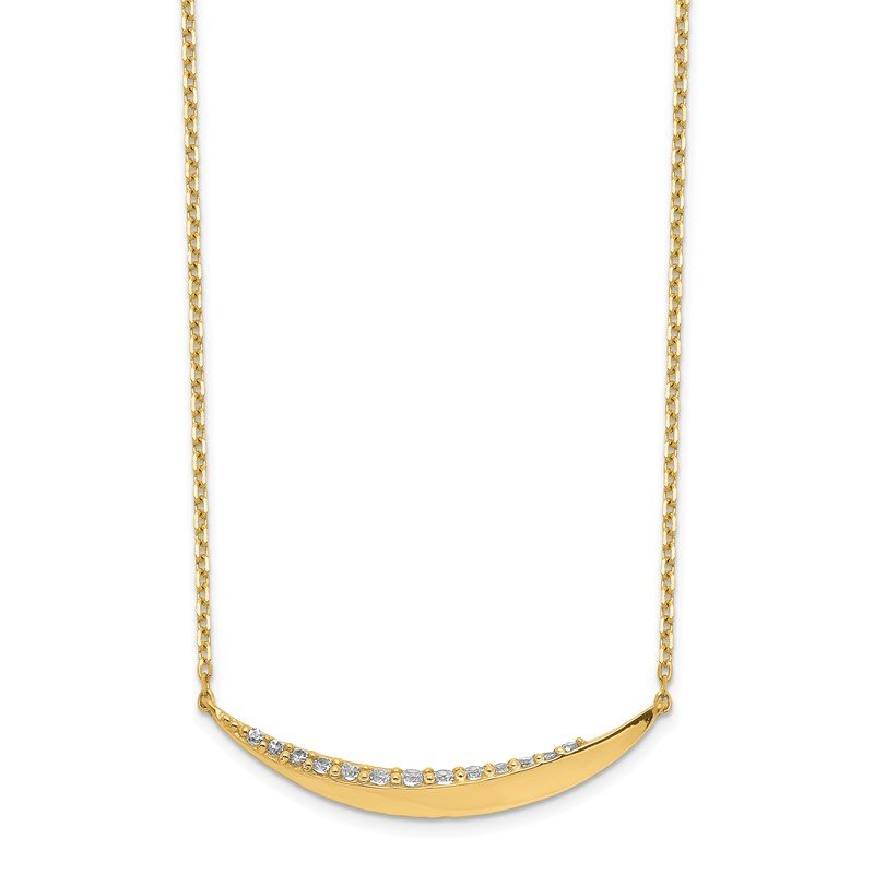 Quality Gold 14K Curved Bar CZ with 2IN EXT Necklace