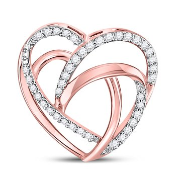 10kt Rose Gold Womens Round Diamond Openwork Heart Pendant 1/12 Cttw