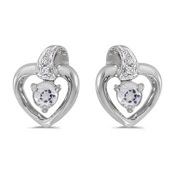10k White Gold Round White Topaz And Diamond Heart Earrings