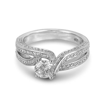 14K WG Diamond Engagement Ring with Flowing Diamonds Set on the Prong Holding the Center Stone