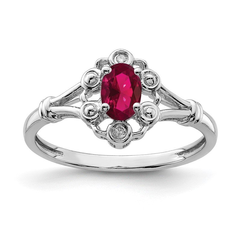 Quality Gold Sterling Silver Rhodium-plated Created Ruby & Diam. Ring