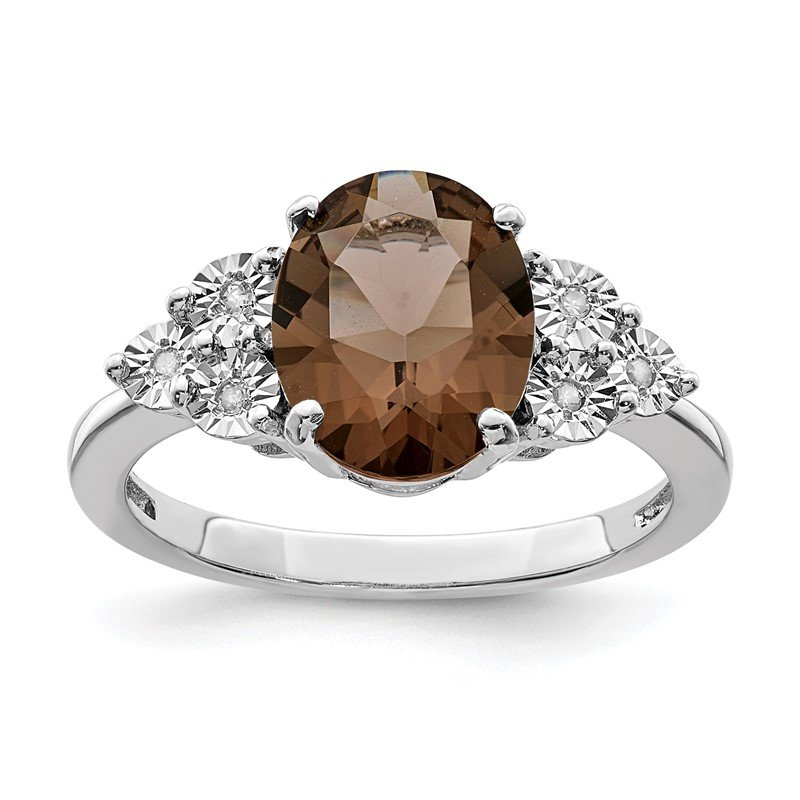 Quality Gold Sterling Silver Rhodium Diam. & Smoky Quartz Ring