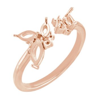 18K Rose Negative Space Ring Mounting